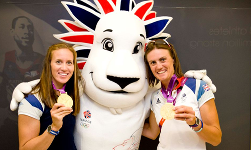 Pride the Lion Olympic Mascot with Helen Glover and Heather Stanning Gold Medals