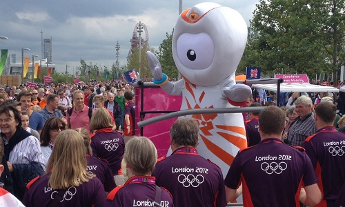 Wenlock inside his buggy in London 2012 Olympic Park