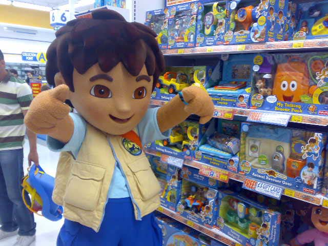 Go, Diego, Go! costume character visits a toy shop