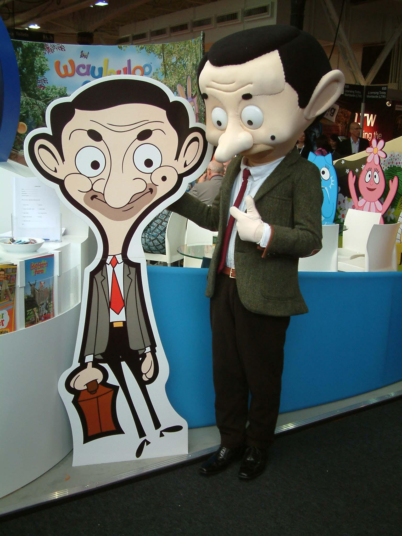 Mr Bean cut-out meets Mr Bean mascot