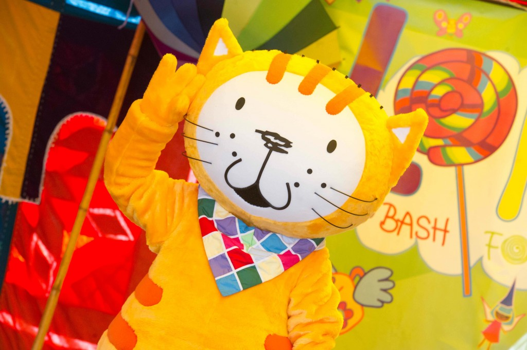 Poppy Cat mascot in action