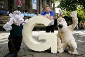 Wallace and Gromit with Andrew Flintoff