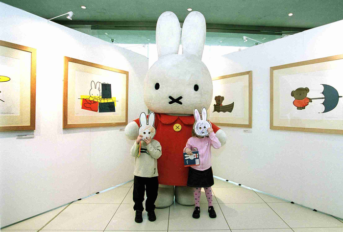 Our Miffy mascot meets two young fans