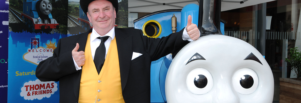 Thomas and The Fat Controller during an event
