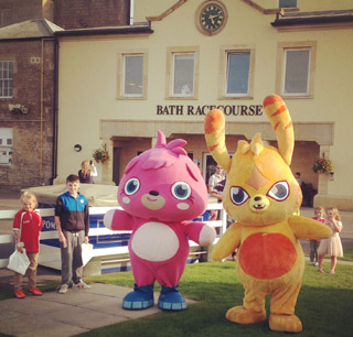 Katsuma & Poppet from Moshi Monsters at Bath Racecourse's Family Fun Day