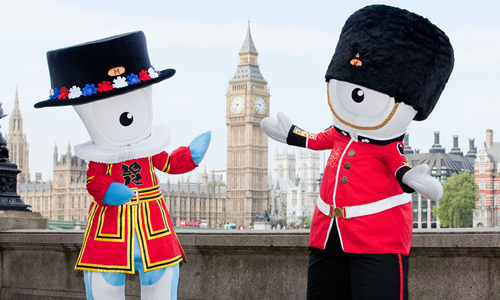 Wenlock and Mandeville Beefeater & Queensguard mascots for London 2012 Olympic Games