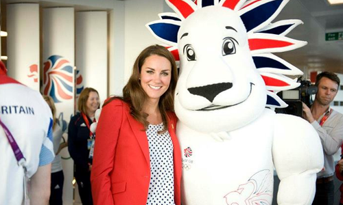 Pride the Lion Team GB Mascot with Kate Middleton Duchess of Cambridge