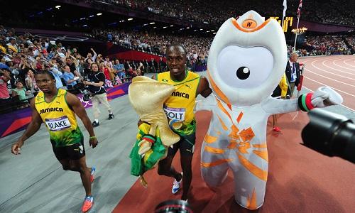Wenlock with Usain Bolt