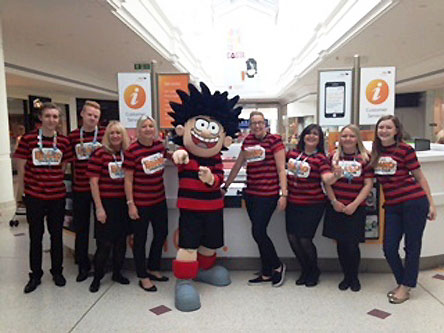 Dennis the Menace tours intu Shopping Centres and is pictured here at intu Bromley.