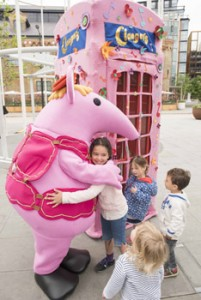 Families enjoy the pop up'Call The Clangers' experience at King's Cross .